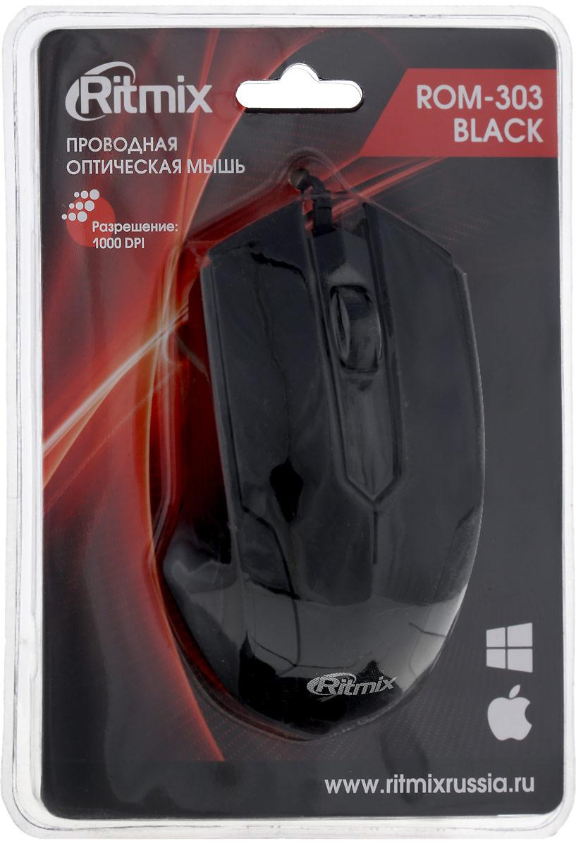 Мышь Ritmix ROM-303 Gaming, Black мышь проводная ritmix rom 303 чёрный usb