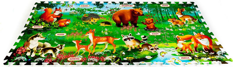 Играем вместе Коврик-пазл Кто живет в лесу 126 х 63 см