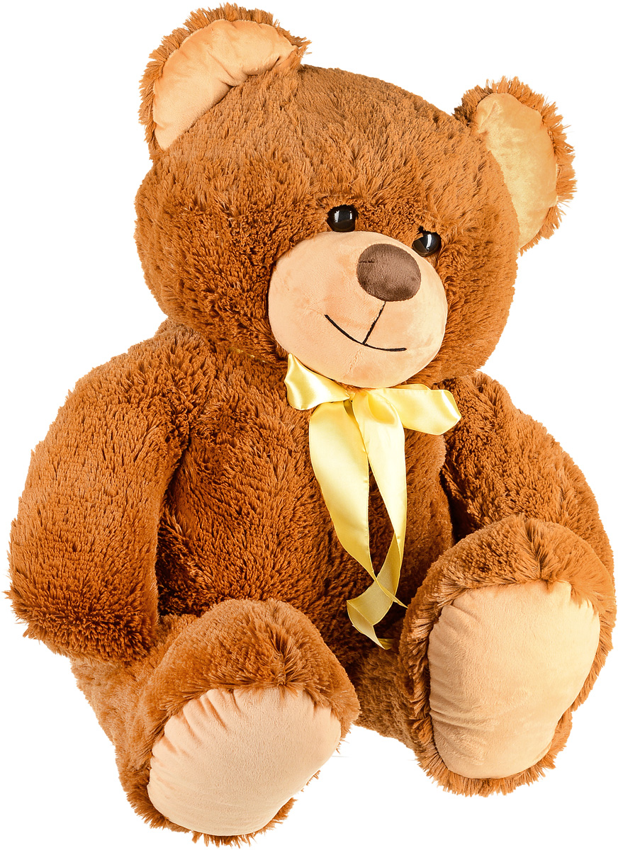 СмолТойс Мягкая игрушка Медведь цвет коричневый с бантом 103 см