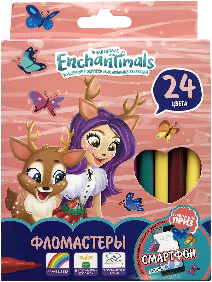 Mattel Фломастеры Enchantimals 24 цвета mattel набор настольный mattel enchantimals круглый без наполнения opp пакет с европодвесом