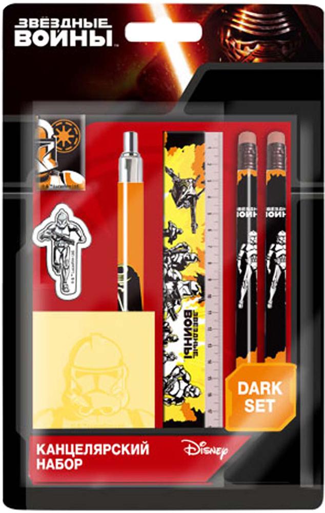 Lucasfilm Канцелярский набор Lucasfilm Star Wars на блистере линейка, резинка, точилка, 2 карандаша, ручка, стикеры точилка пластмассовая тройная эргономичный дизайн блистерная упаковка 0969 0002