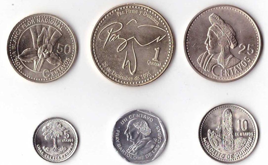 Комплект из 6 монет. Гватемала, 1994 - 2007 гг. купюра 5 кетцаль гватемала 2008 год