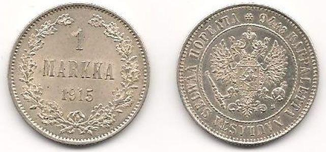 цена на Монета номиналом 1 марка. Белый металл. Финляндия в составе Российской Империи. 1915 год