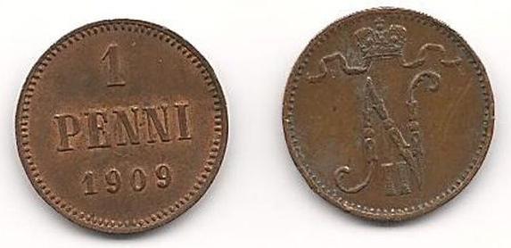 Монета номиналом 1 пенни. Сохранность VF. Россия для Финляндии, 1909 год подставка под горячее nouvelle розовый нектар диаметр 17 см m0661011
