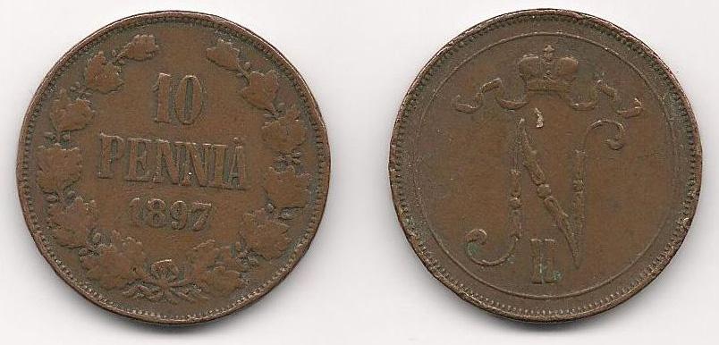 Монета номиналом 10 пенни. Медь. Финляндия в составе Российской Империи, 1897 год монета антониниан галлиен 260 268 гг медь античный рим юпитер