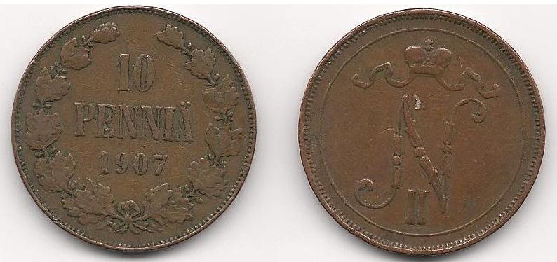 Монета номиналом 10 пенни. Медь. Финляндия в составе Российской Империи, 1907 год монета антониниан галлиен 260 268 гг медь античный рим юпитер