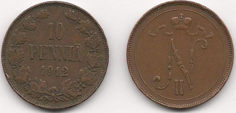 Монета номиналом 10 пенни. Медь. Финляндия в составе Российской Империи, 1912 год монета номиналом 10 марок финляндия 1952