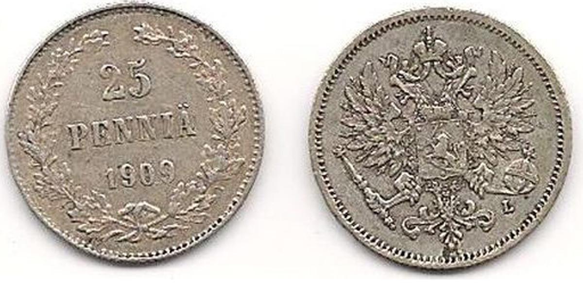 Монета номиналом 25 пенни. Белый металл. Финляндия в составе Российской Империи, 1909 год цена и фото