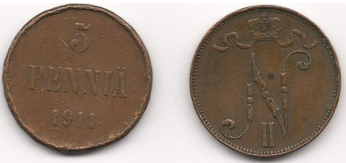 Монета номиналом 5 пенни. Медь. Финляндия в составе Российской Империи, 1911 год монета антониниан галлиен 260 268 гг медь античный рим юпитер