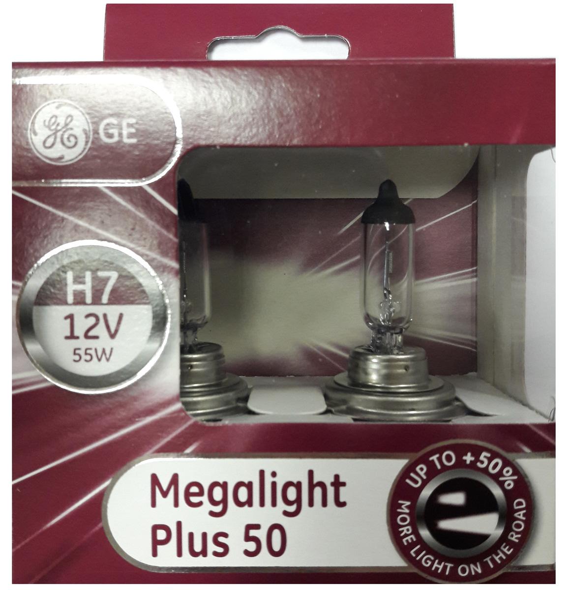 """Лампа автомобильная General Electric """"Megalight Plus 50"""", цоколь PX26d, 12V, 55W, 2 шт"""