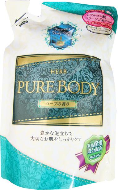 Mitsuei Pure Body Увлажняющий гель для душа с гиалуроновой кислотой, коллагеном и экстрактом алоэ, с ароматом луговых трав, 400 мл, мягкая упаковка