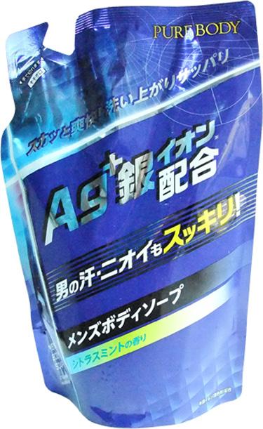Mitsuei Pure Body Дезодорирующий мужской гель для душа с микрочастицами серебра, с ароматом цитруса и мяты, 400 мл, мягкая упаковка