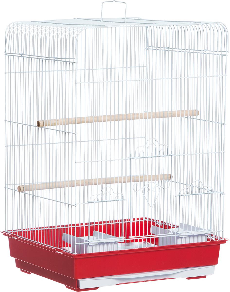 Клетка для птиц Triol, цвет: серый, красный, 43 х 30,5 х 58 см клетка для грызунов велес с полками цвет серый 40 х 58 х 45 см