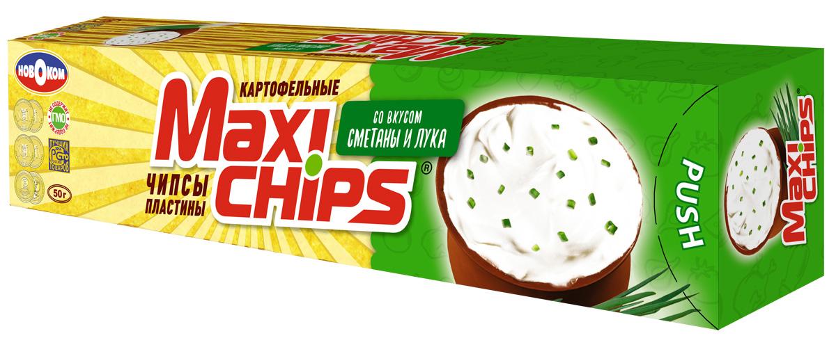 Чипсы картофельные Maxi chips, сметана, лук, 50 г чипсы bruto тапас сметана лук 75