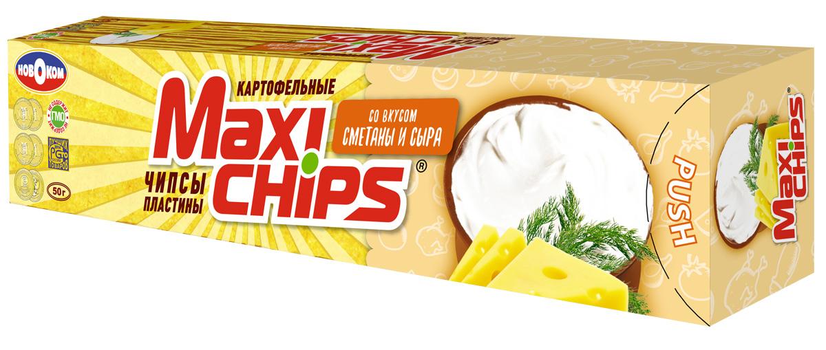 Чипсы картофельные Maxi chips, сметана, сыр, 50 г чипсы картофельные maxi chips сметана лук 50 г