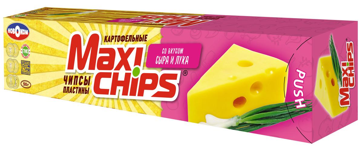 Чипсы картофельные Maxi chips, сыр, лук, 50 г чипсы картофельные maxi chips сметана лук 50 г