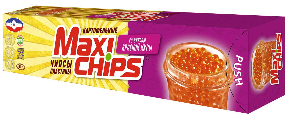 Чипсы картофельные Maxi chips, икра красная, 50 г чипсы картофельные maxi chips сметана лук 50 г
