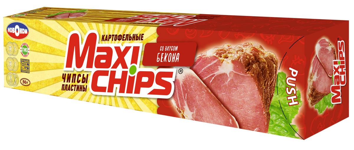 Чипсы картофельные Maxi chips, бекон, 50 г чипсы картофельные maxi chips сметана лук 50 г