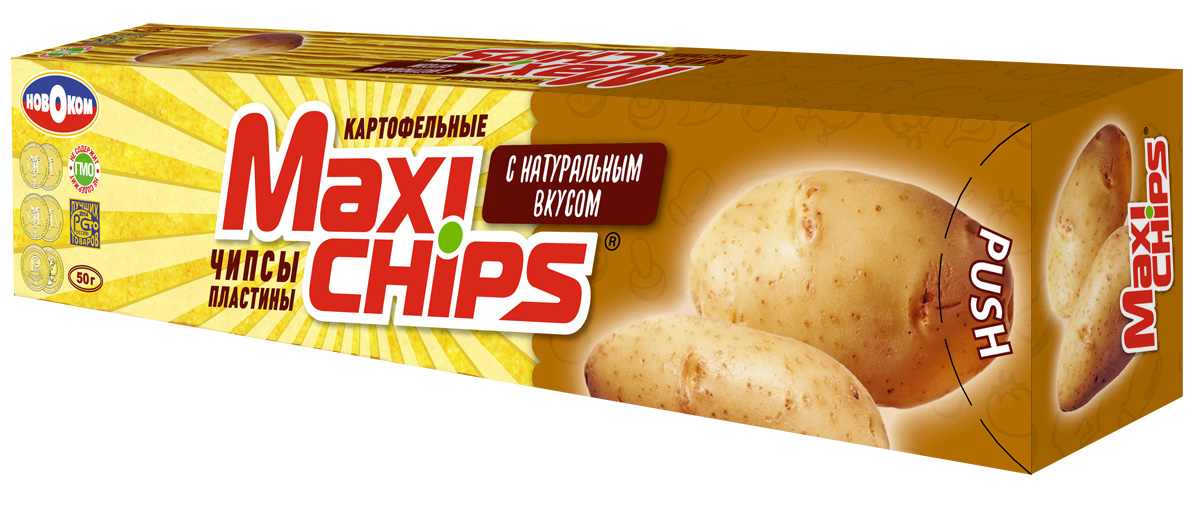 Чипсы картофельные Maxi chips, натуральные, 50 г maxi chips чипсы картофельные со вкусом томата с зеленью 100 г
