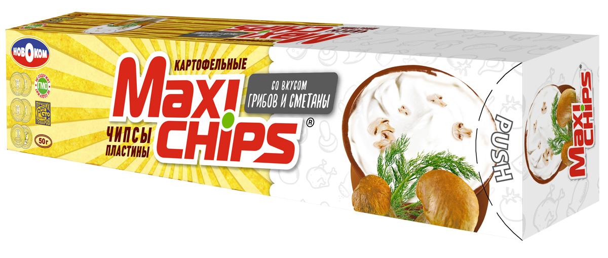 Чипсы картофельные Maxi chips, грибы, сметана, 50 г чипсы картофельные turbo diesel жареные креветки 75 г