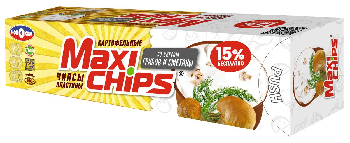 Maxi-chips Чипсы картофельные со вкусом грибов и сметаны, 100 г чипсы картофельные maxi chips сметана лук 50 г