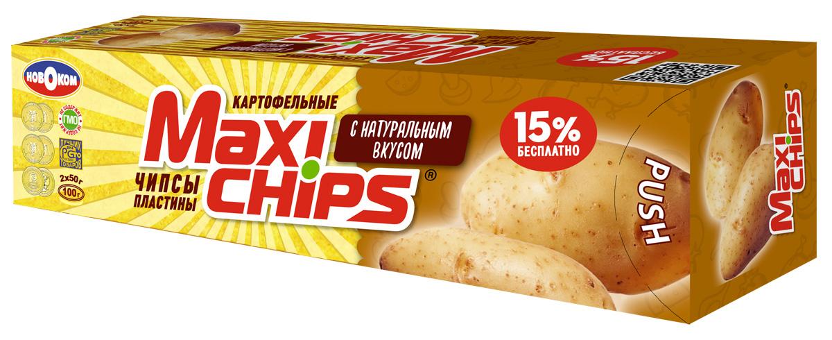 Maxi-chips Чипсы картофельные с натуральным вкусом, 100 г maxi chips чипсы картофельные со вкусом томата с зеленью 100 г
