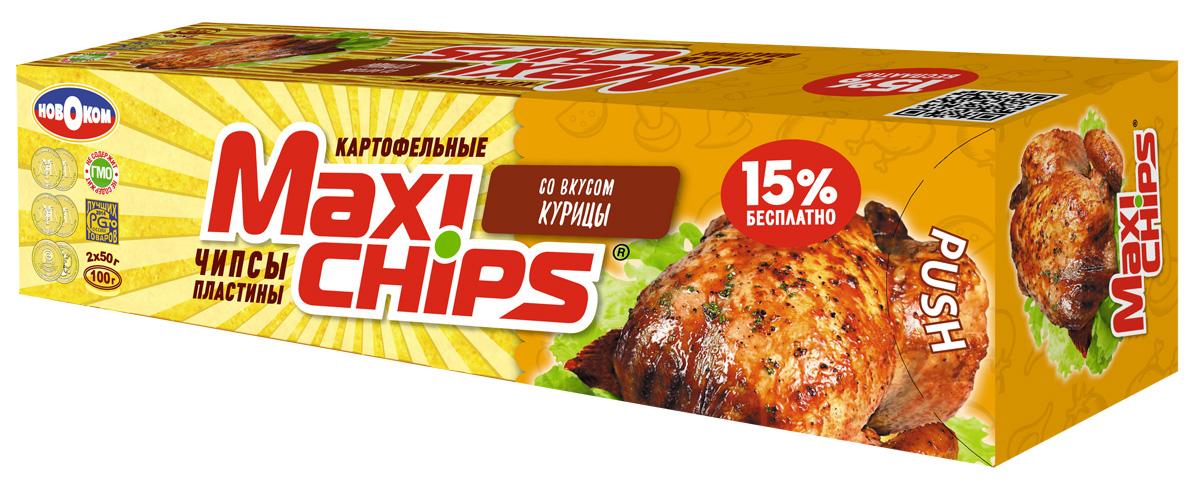 Maxi-chips Чипсы картофельные со вкусом курицы, 100 г чипсы картофельные русская картошка креветки 50 г