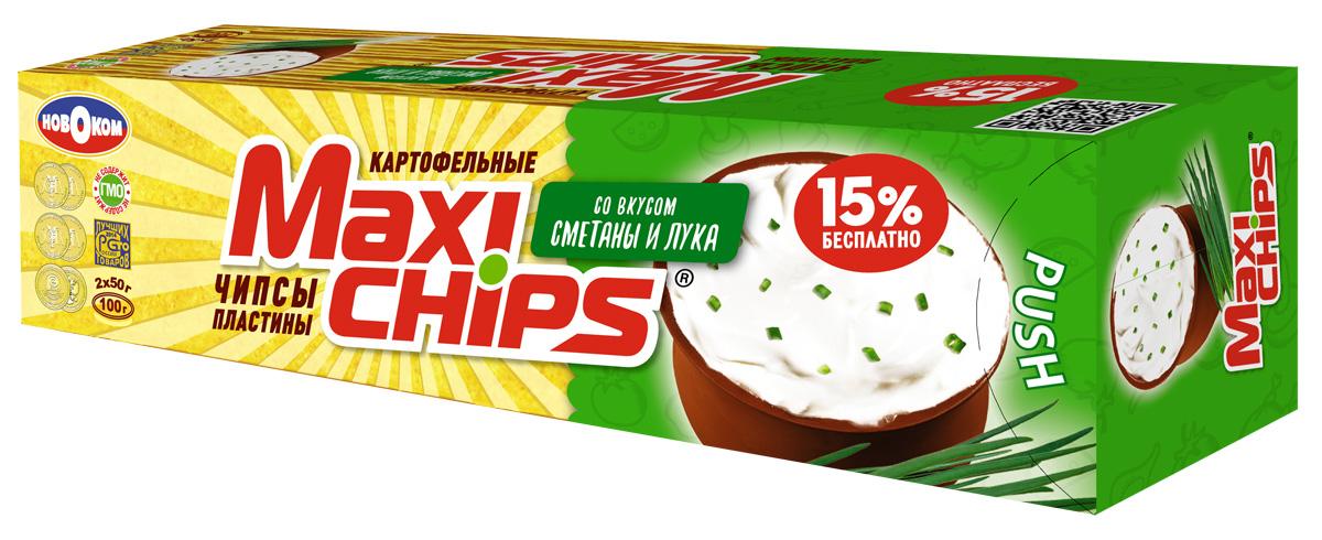 Maxi-chips Чипсы картофельные со вкусом сметаны и лука, 100 г maxi chips чипсы картофельные со вкусом томата с зеленью 100 г