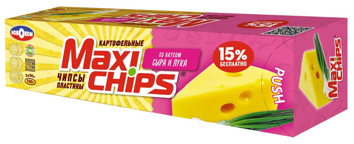Maxi-chips Чипсы картофельные со вкусом сыра и лука, 100 г чипсы картофельные maxi chips сметана лук 50 г