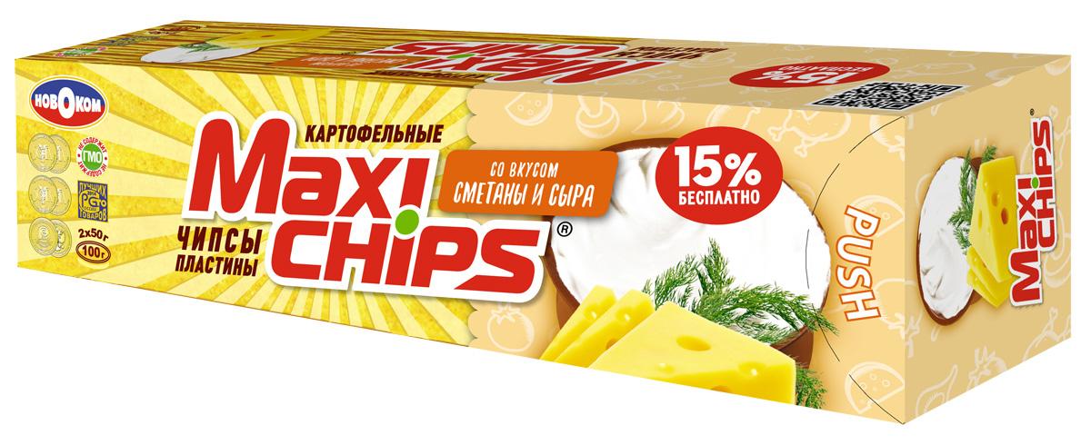 Maxi-chips Чипсы картофельные со вкусом сметаны и сыра, 100 г maxi chips чипсы картофельные со вкусом томата с зеленью 100 г