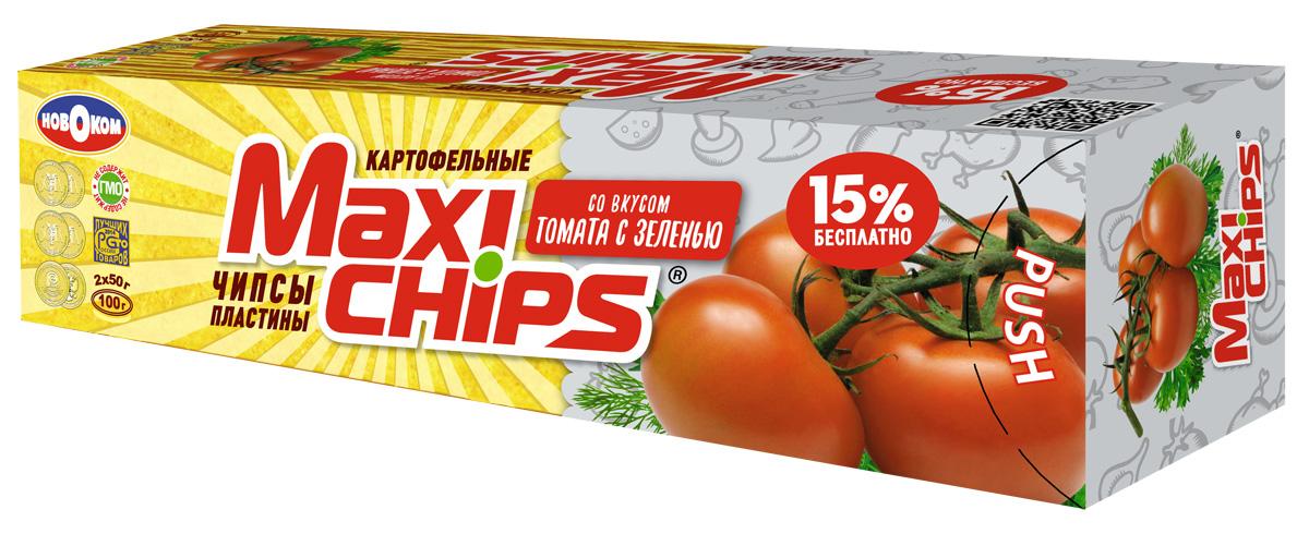Maxi-chips Чипсы картофельные со вкусом томата с зеленью, 100 г maxi chips чипсы картофельные со вкусом томата с зеленью 100 г
