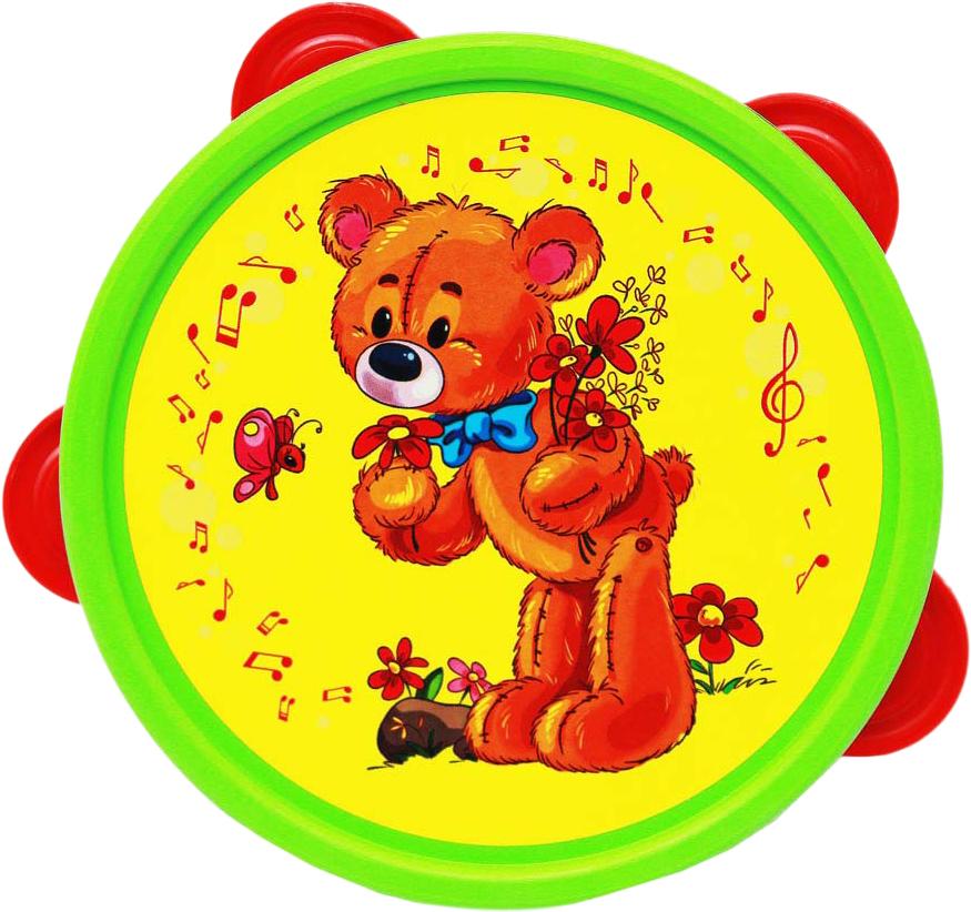 Рыжий Кот Бубен МишкаИ-6814Бубен - прекрасная игрушка-инструмент для развития малыша, которая поможет развить слух, чувство ритма, музыкальные способности.