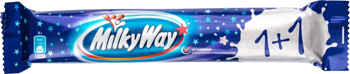 Milky Way шоколадный батончик, 52 г подарочный набор milky way кормушка 155 г