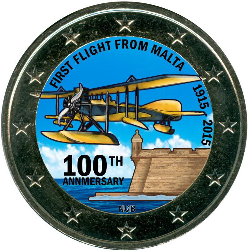 Монета номиналом 2 евро 2015 Мальта, 100 лет первому авиаперелёту с Мальты (цветная) монета номиналом 2 евро 2015 финляндия ян сибелиус цветная