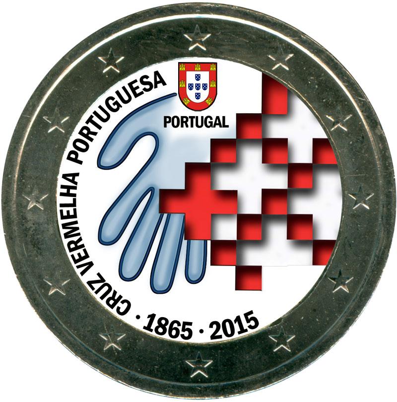 Монета номиналом 2 евро 2015 Португалия, 150 лет португальскому Красному кресту (цветная)