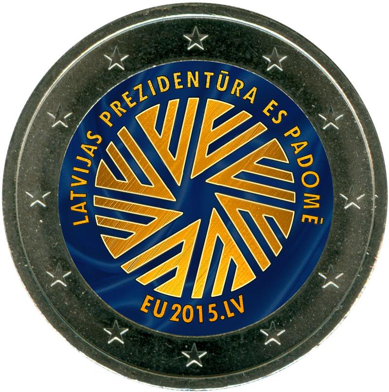Монета номиналом 2 евро 2015 Латвия, Председательство Латвии в Совете ЕС (цветная) монета номиналом 2 евро 2015 финляндия ян сибелиус цветная