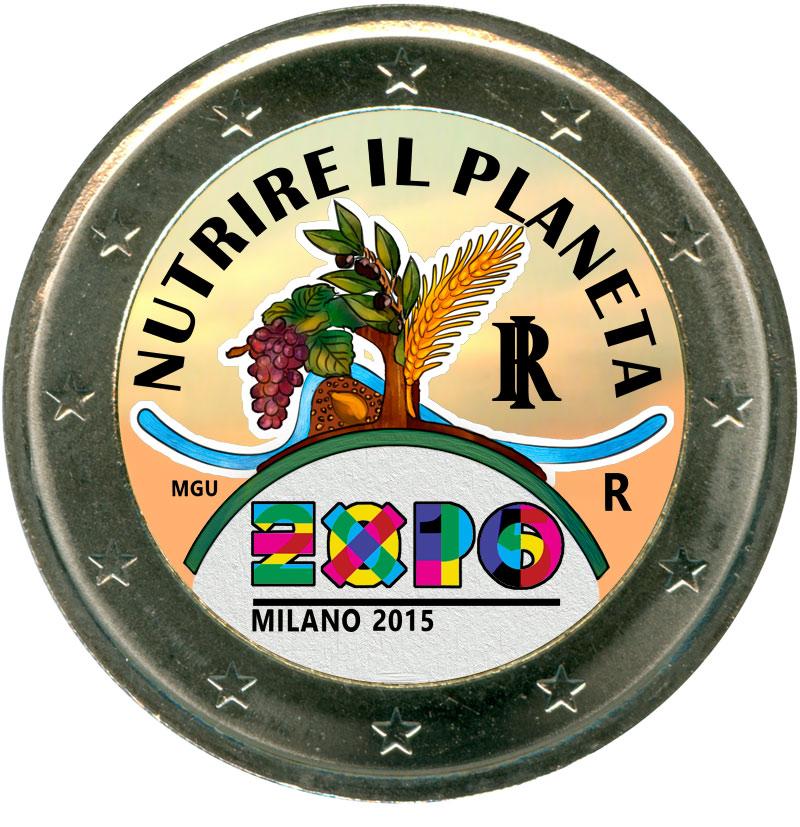Монета номиналом 2 евро 2015 Италия, EXPO 2015 Милан (цветная) монета номиналом 2 евро 2015 финляндия ян сибелиус цветная
