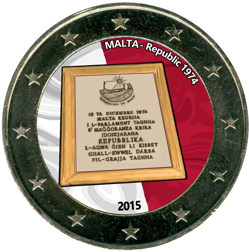 Монета номиналом 2 евро 2015 Мальта, Республика 1974 (цветная)