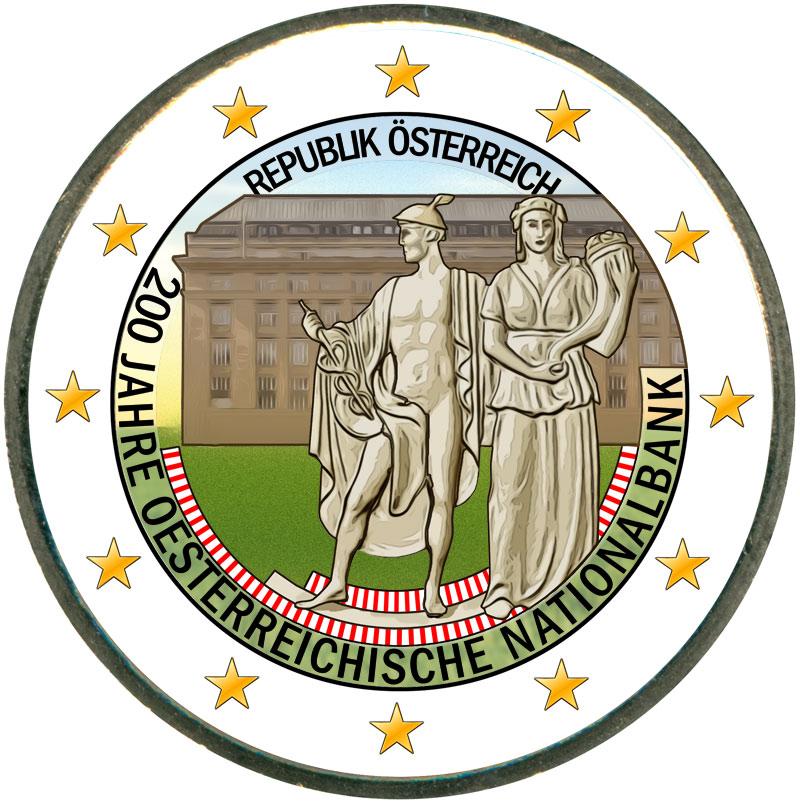 Монета номиналом 2 евро 2016 Австрия, 200 лет Национальному Банку (цветная) монета номиналом 2 евро 2017 бельгия 200 лет университету гента цветная