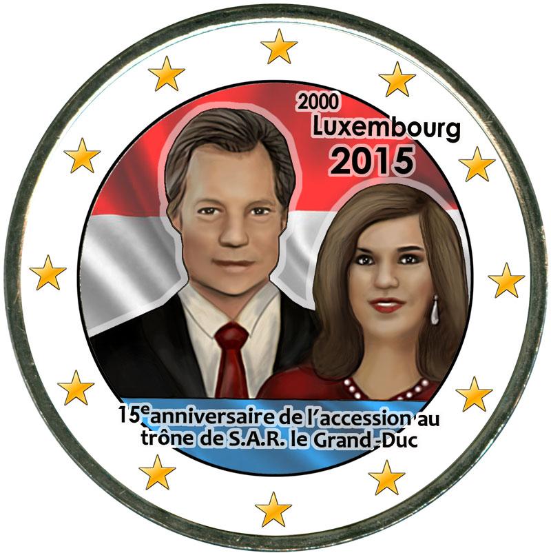 Монета номиналом 2 евро 2015 Люксембург, 15-летие восшествия на престол (цветная) монета номиналом 2 евро 2015 финляндия ян сибелиус цветная