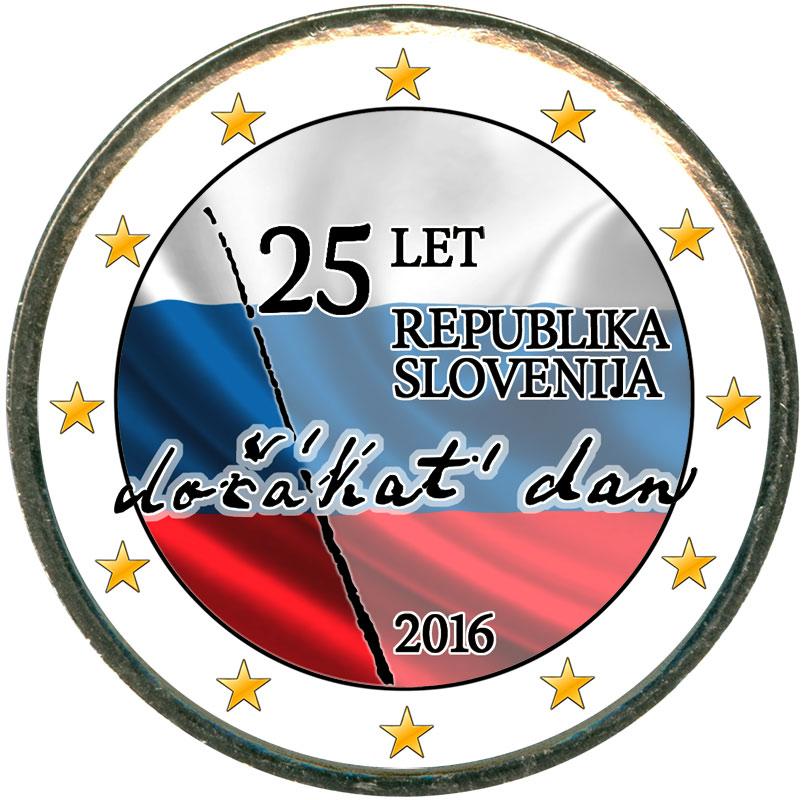 Монета номиналом 2 евро 2016 Словения, 25 лет независимости (цветная)17661Это частная работа. Цветное покрытие нанесено способом ультрафиолетовой печати. Монета цветная с одной стороны.