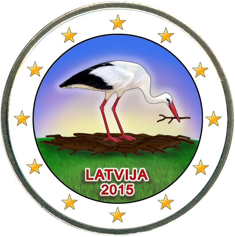 Монета номиналом 2 евро 2015 Латвия, Аист (цветная) монета номиналом 2 евро 2015 финляндия ян сибелиус цветная