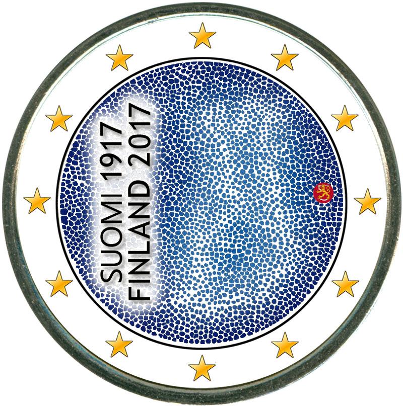 Монета номиналом 2 евро 2017 Финляндия, 100 лет независимости (цветная) монета номиналом 2 евро 2017 бельгия 200 лет университету гента цветная