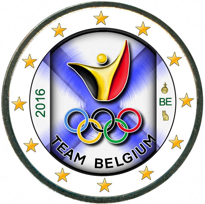Монета номиналом 2 евро 2016 Бельгия Олимпиада в Рио (цветная) монета номиналом 2 евро 2017 бельгия 200 лет университету гента цветная