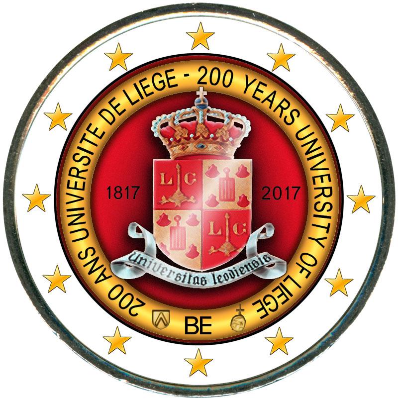 Монета номиналом 2 евро 2017 Бельгия, 200 лет университету Льежа (цветная) монета номиналом 2 евро 2017 бельгия 200 лет университету гента цветная