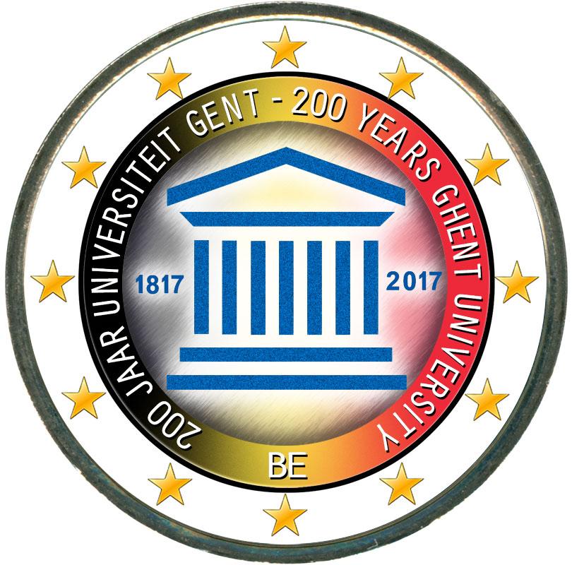 Монета номиналом 2 евро 2017 Бельгия, 200 лет университету Гента (цветная) монета номиналом 2 евро 2017 бельгия 200 лет университету гента цветная