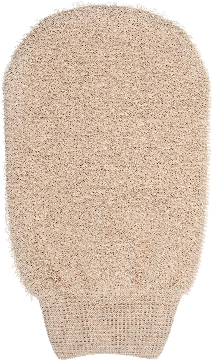 Riffi Мочалка-рукавица, массажная, двухсторонняя, цвет: светло-коричневый