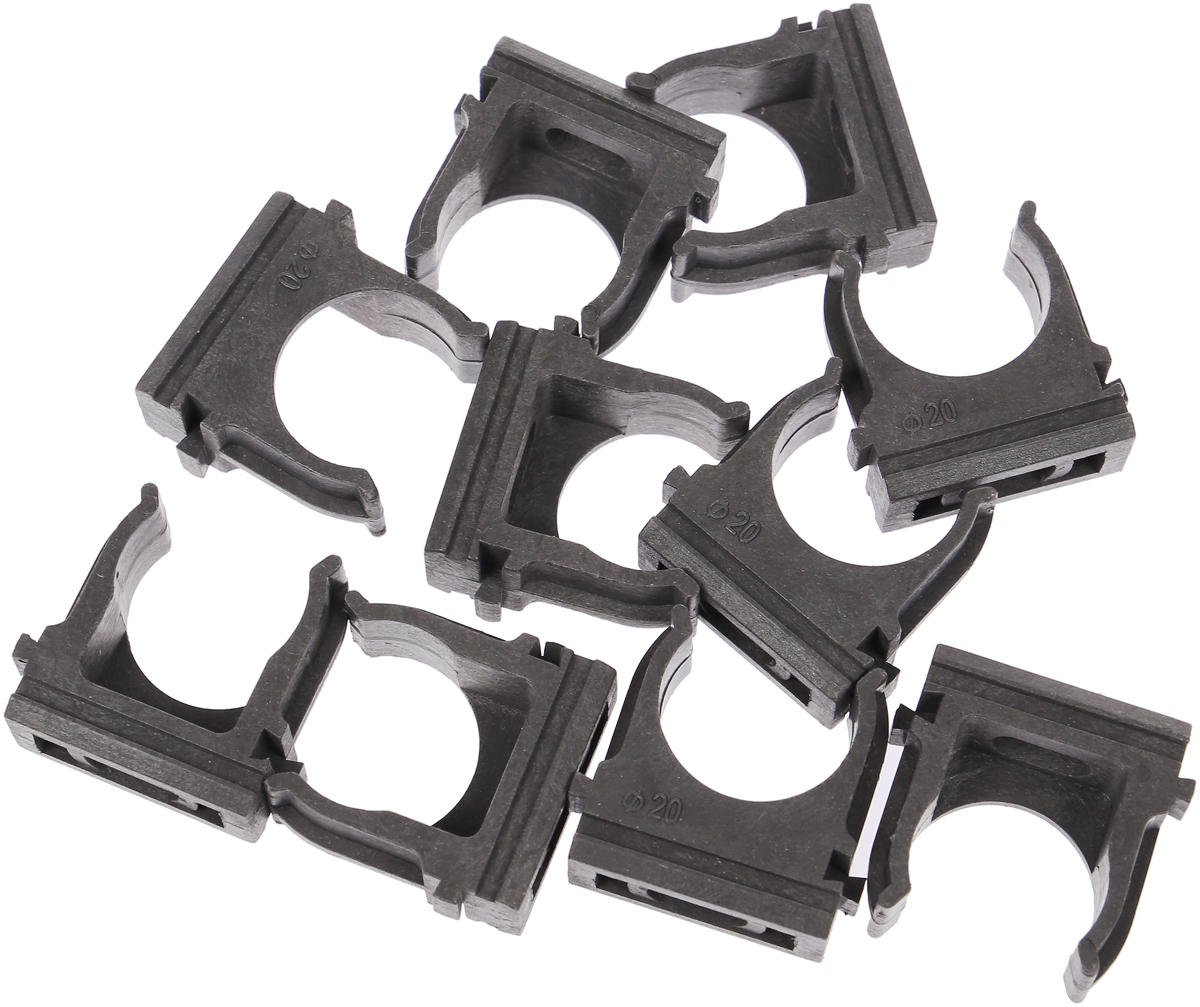 Крепеж-клипса Fortisflex, для труб, цвет: темно-серый, диаметр 20 мм, 10 штЭТ.120296_темно-серый