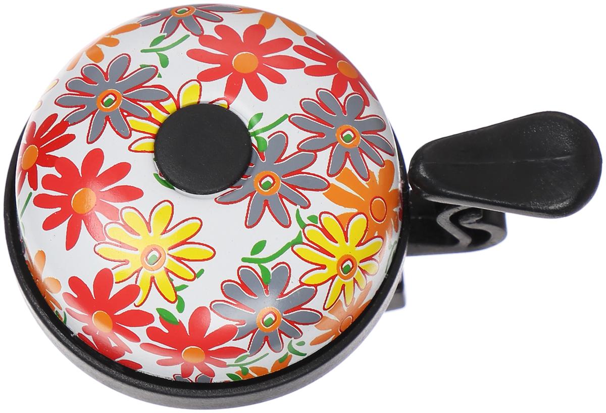 Звонок велосипедный STG Цветы, цвет: белый, ударный