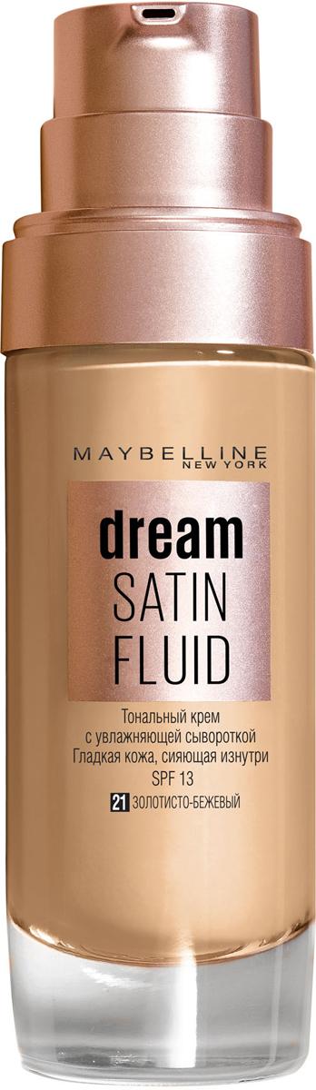 """Maybelline New York Тональный крем-флюид для лица """"Dream Satin Fluid"""", оттенок 21, золотисто-бежевый, 30 мл"""